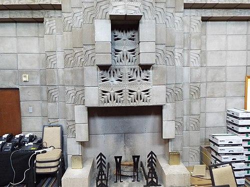 Fireplace inside the Mystery Room Phoenix-Building-Arizona Biltmore Hotel Mystery room-1929-2.jpg