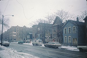 Marshall Field Garden Apartments - the 1500 block of north Sedgwick street circa 1966. The apartments can be seen in the left of the image, and have been renamed to 'Old Town Gardens'