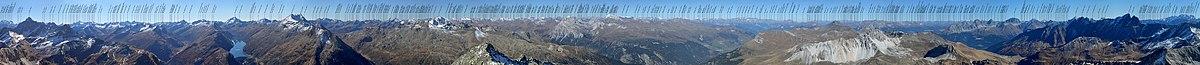 Labeled Panorama of Piz Grisch (Ferera, Grisons, Switzerland)