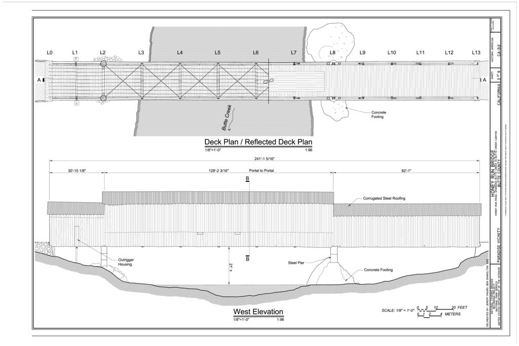 Elevation Plan Wiki : File plan west elevation honey run bridge spanning