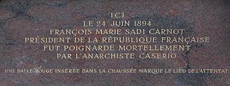 Palais de la Bourse, Lyon - The commemorative plaque about Sadi Carnot's murder