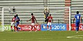 Players of India and Bangladesh in action during a Football Match, at the 12th South Asian Games-2016, in Guwahati on February 13, 2016.jpg