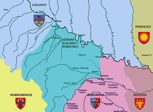 Pokuttya - Map of the historical region Pokuttya (blue-green), based on Jancu J. Nistor, Die moldauischen Ansprüche auf Pokutien, Vienna 1910