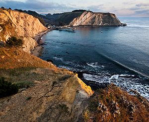 Point Arena, California - Point Arena pier and cove from Stormetta Public Lands