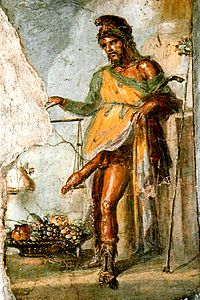Fresco of Priapus, House of the Vettii, Pompeii.