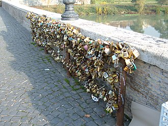 Ponte Milvio - Love padlocks on the bridge
