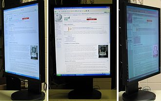Page orientation - Poor side-viewing image quality of an LCD monitor rotated into portrait orientation