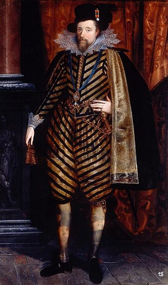 James VI succeeded to the English and Irish thrones in 1603. Portrait of King James I & VI (1618-1620).jpg