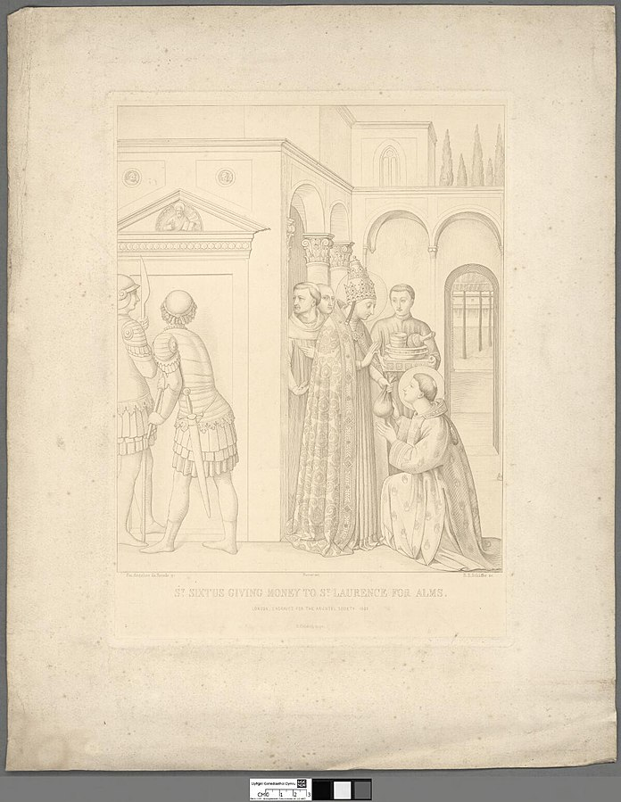 St. Sixtus giving money to St. Laurence for alms