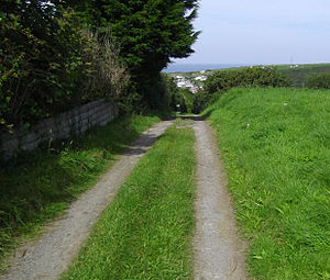 Hayle Railway - A 2012 view down the course of the Portreath incline from the summit