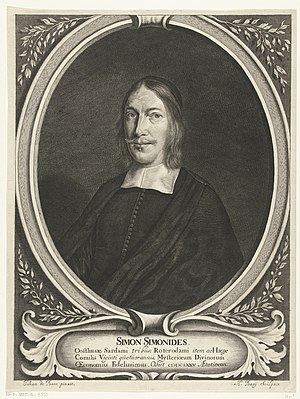 Portret van Simon Simonides op 46-jarige leeftijd, RP-P-1885-A-9330