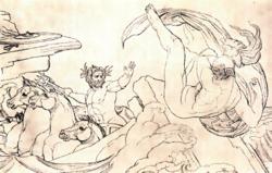 Poseidon smites Ajax the Lesser, by Genelli Bonaventura (1798–1868).