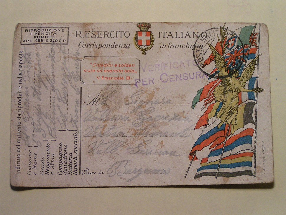 Postcard from WWI Italian front