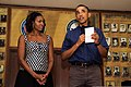 President Barack Obama, right, and first lady Michelle Obama speak to Service members during a Christmas Day visit to Marine Corps Base Hawaii Dec. 25, 2013 131225-M-DP650-001.jpg