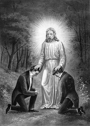 Mormonism - A depiction of Joseph Smith and Oliver Cowdery receiving priesthood authority from John the Baptist