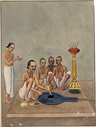 Baidyanath Temple - An 1870 watercolour showing worship of the Jyotirlinga in Deoghar
