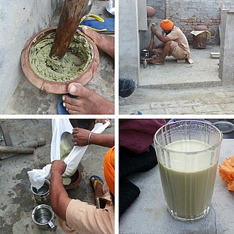Cannabis and Sikhism - Process of making bhang in a Sikh village in Punjab, India. On the Hindu and Sikh festival of colors called Holi, it is a customary addition to some intoxicating drinks.
