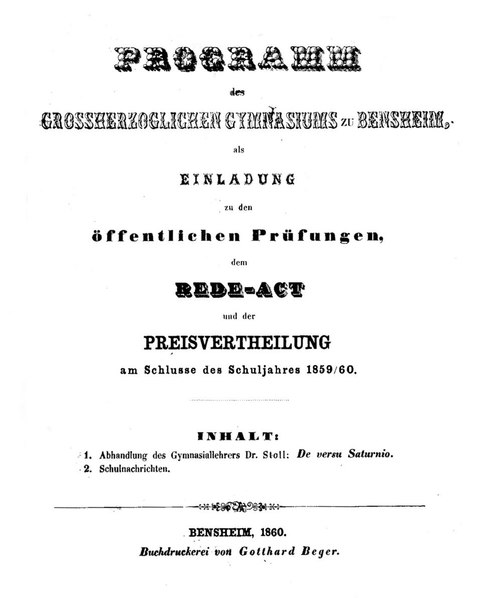 File:Programm des Großherzoglichen Gymnasiums zu Bensheim als Einladung zu den öffentlichen Prüfungen am Schlusse des Schuljahres 1859-1860 - Franz Xaver Stoll (1834-1902) - De versu Saturnio.pdf