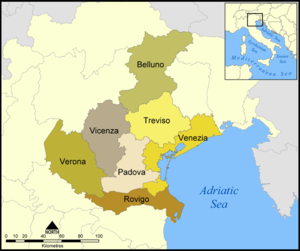 Map of provinces of Veneto