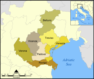 Province of Venice - Map of Veneto showing the location of the former province of Venice.
