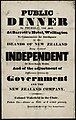 Public dinner on Thursday, 15th April, At Barrett's Hotel, Wellington to commemorate the Intelligence of the Islands of New Zealand being declared INDEPENDENT of New South Wales, and of the adjustment (21490408642).jpg