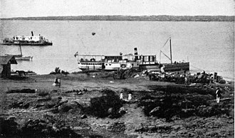 Misiones Province - Steamer on the riverbank at Posadas, 1892.