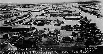 Battle of Columbus (1916) - Staging area in Columbus for truck trains that supplied troops of General John J. Pershing during the Pancho Villa Expedition.