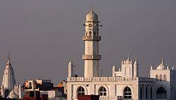 Qadian rooftop and Minaratul Masih.JPG