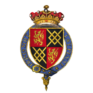 John FitzAlan, 14th Earl of Arundel - Arms of Sir John FitzAlan, 14th Earl of Arundel, KG - 1 and 4, gules a lion rampant or (FitzAlan); 2 and 3, sable, a fret or (Maltravers)
