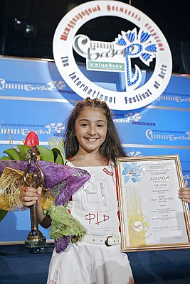 RIAN archive 323354 Russia's Lara, 10, won the Grand Prix and the Lira special prize during the Sixth Children's International Music Contest Vitebsk-2008, part of the Slavyansky Bazar Music festival in Vitebsk.jpg