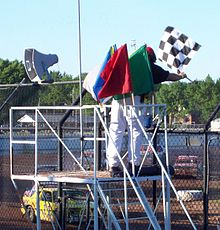 Auto Racing  Rules  Yellow Flag on The Chequered Flag With A Complete Set Of Stockcar Racing Flags