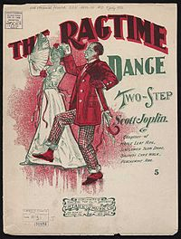 A stereotyped African-American couple are shown dancing in a drawing on the front cover of the sheet music