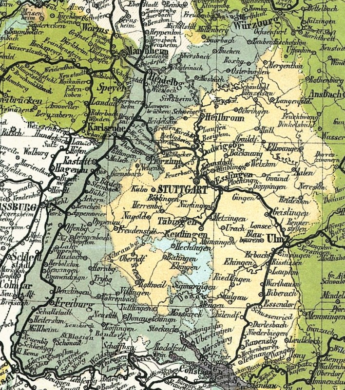 A section of the Travel Map of Germany from 1861 showing Baden and neighbouring states Grand Duchy of Baden Kingdom of Württemberg Prussian Province of Hohenzollern Kingdom of Bavaria Grand Duchy of Hesse (north), France (west) and Switzerland (south) Lake Constance