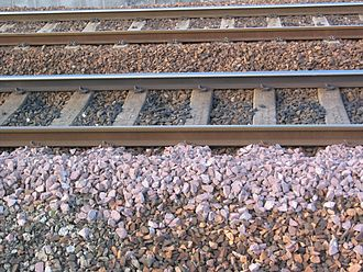 Track ballast - Good quality track ballast is made of crushed stone. The sharp edges help the particles interlock with each other.