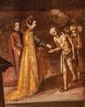 Rainha Santa Isabel, Milagre das Rosas (séc. XVII) - Sé Velha de Coimbra (cropped).png