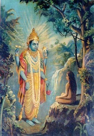 Dhruva - Vishnu appears before Dhruva – A painting by Raja Ravi Varma.