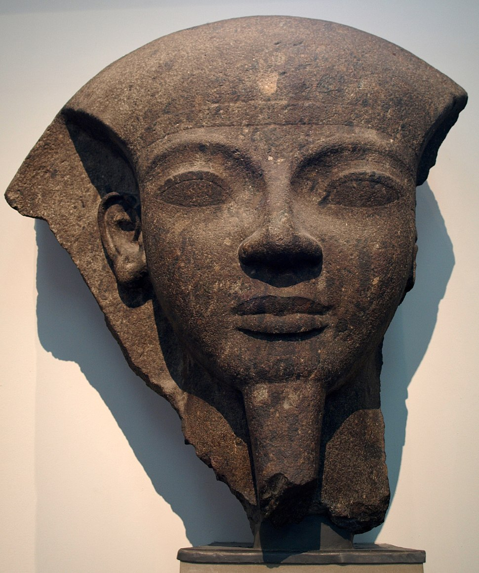 Fragment of Ramesses VI's stone sarcophagus from his tomb now on display at the British Museum. The sarcophagus was originally painted, its stone quarried in the Wadi Hammamat.