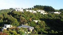 Photo of Raphael House Rudolf Steiner School in Belmont, Lower Hutt from the road that runs below.