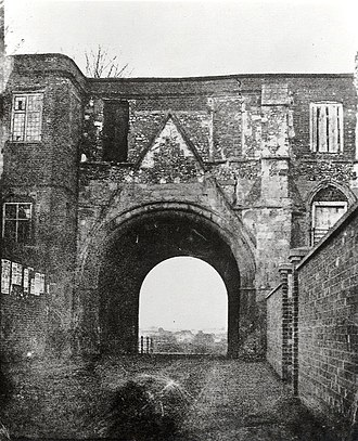 Reading Abbey - The Abbey Gateway from the south. Photographed by Henry Fox Talbot c. 1840–1849.