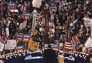 Republican Party presidential primaries, 1980 - Ronald Reagan delivering his acceptance speech at the Republican National Convention in Detroit, Michigan, on July 17, 1980.