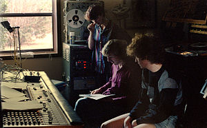 The Big Shot Chronicles - Recording The Big Shot Chronicles, September 1985. L-R: LaFreniere, Easter, Miller.