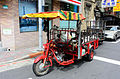 Red Motorized Tricycle Parkd at Jinzhou Street, Taipei 20150901.jpg