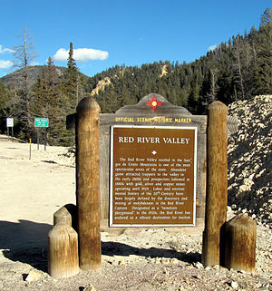 Red River (New Mexico) - The Red River Valley historic marker west of the town of Red River, New Mexico.