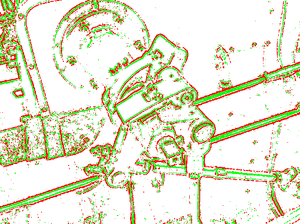 "Receptive field - A computer emulation of ""edge detection"" using retinal receptive fields. On-centre and off-centre stimulation is shown in red and green respectively."