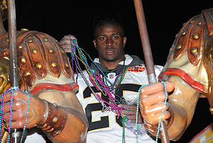 Reggie Bush - Bush at the Saints' Super Bowl XLIV victory parade.