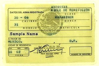 Gun laws in Mexico - Mexican Firearms Registration Card