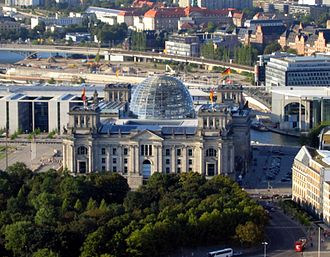 Reichstag dome - The Reichstag building with its glass dome in 2004.