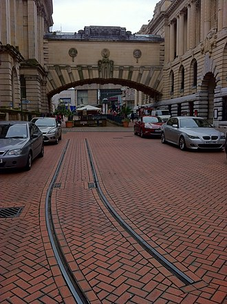 Edmund Street - Birmingham Corporation Tramways track between the two Council House/museum blocks