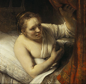 Geertje Dircx - Sarah waiting for Tobias (1647?). National Gallery of Scotland, Edinburgh. According to Gary Schwartz, the woman in the picture could be Dircx or Hendrickje Stoffels.