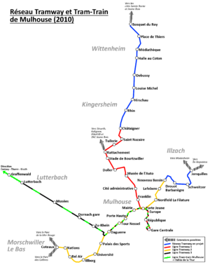 Mulhouse tramway - Map of Mulhouse tramway